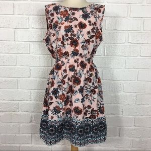 SPEED CONTROL pink floral sleeveless dress Large